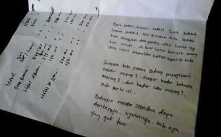 Kertas yang saya temukan dalam laci